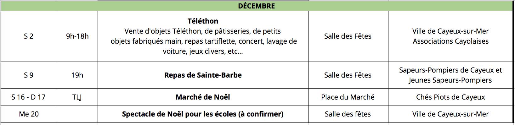 Cayeux-sur-mer animations décembre 2017