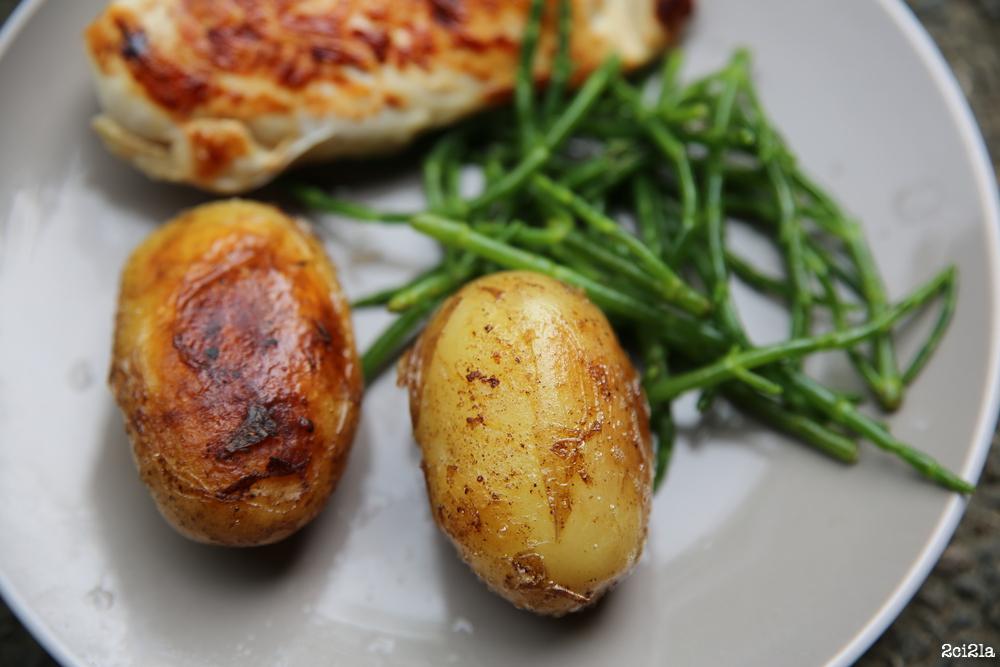 Pommes de terre primeur et salicornes.