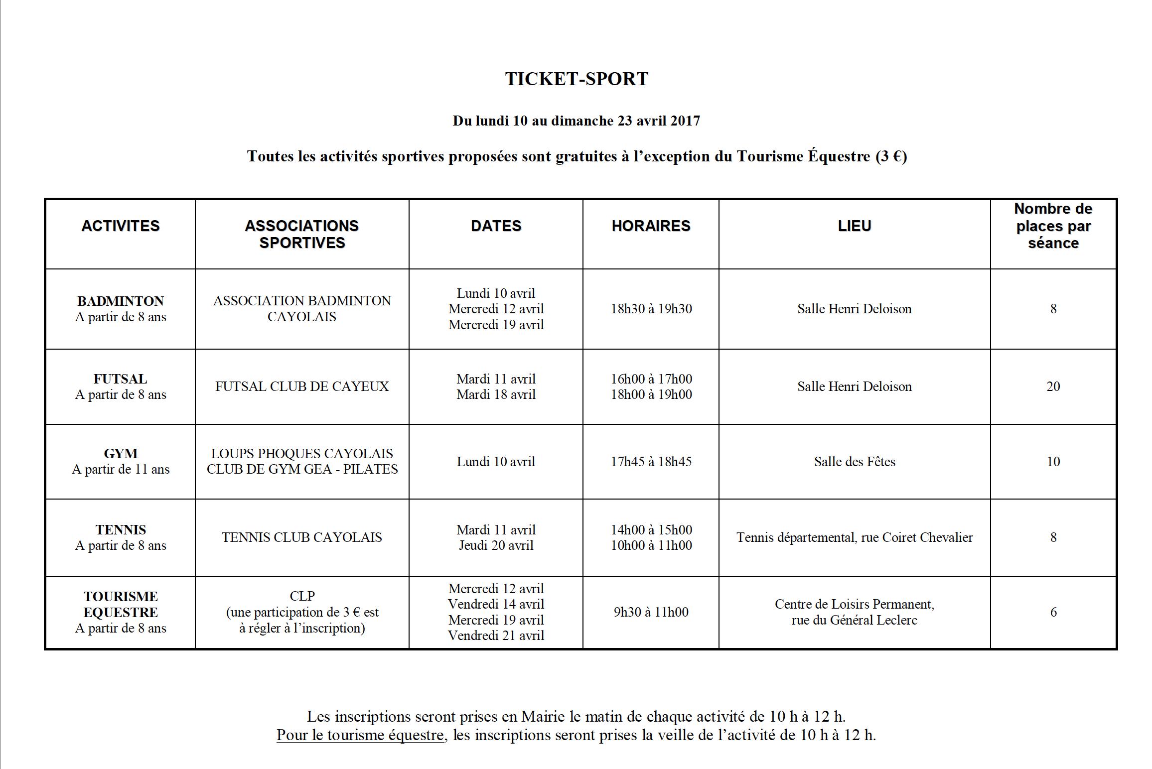 Ticket sport cayeux-sur-Mer Vacances de pâques