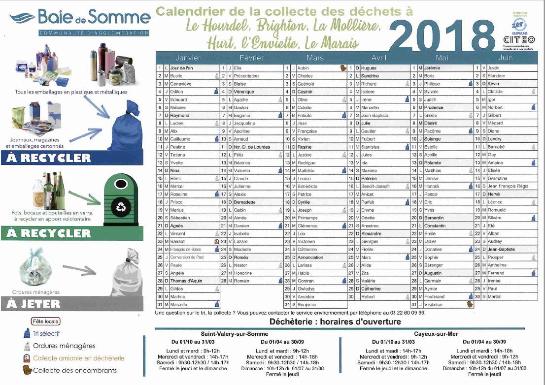 calendrier-de-collecte-des-déchets-Hameaux-de-Cayeux-premier-semestre-2018