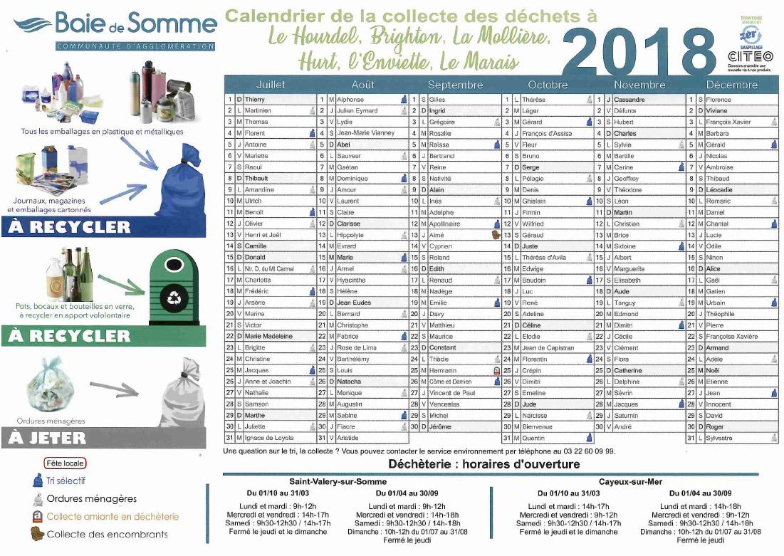 calendrier-de-collecte-des-déchets-Hameau-de-Cayeux-deuxième-semestre-2018