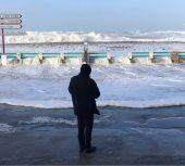 La tempête Eleanor à Cayeux-sur-mer :     De l'eau dans les rues mais la digue a bien résisté