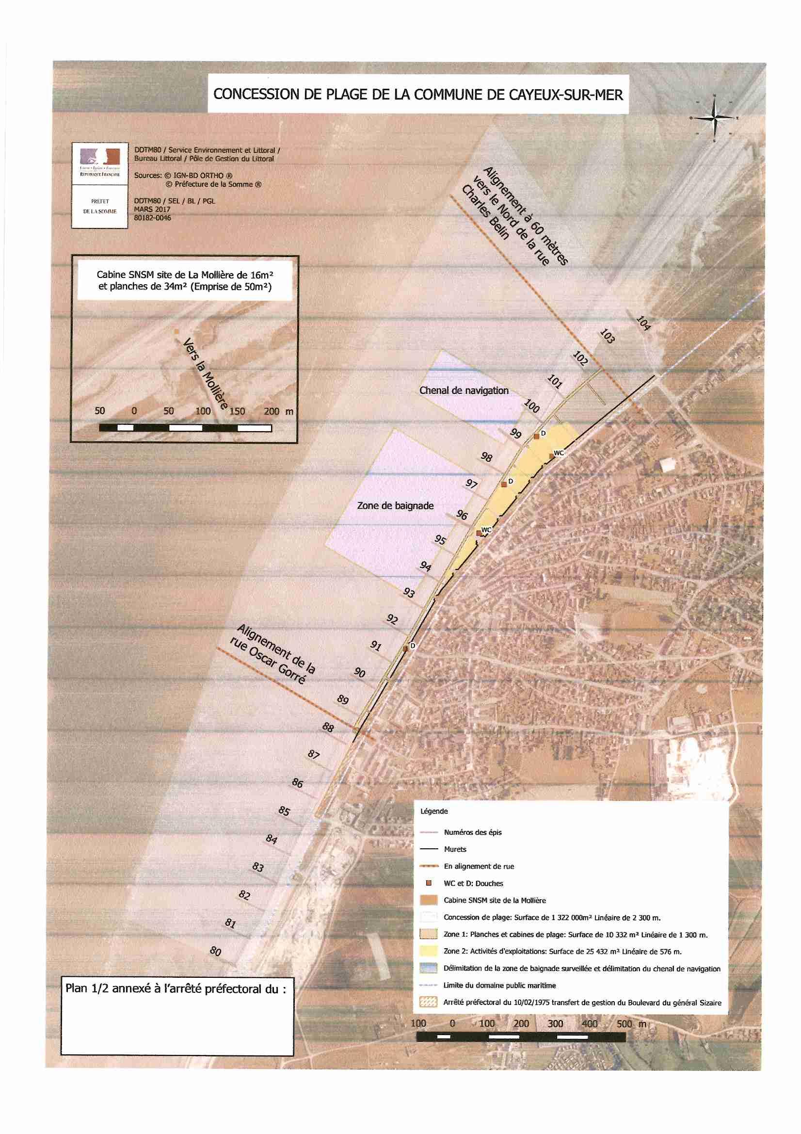 plan concession de plage-Cayeux-sur-mer 2018